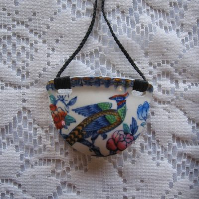 Recycled china semi-circle pendant, hand-painted bird shaped from an antique teacup