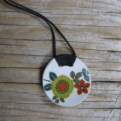 Recycled china pendant, floral retro, Kelston Ceramics - Crown Lynn