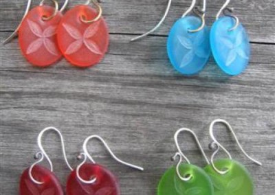 Tapa design engraved glass earrings on sterling silver hooks - orange, turquoise, red, lime green