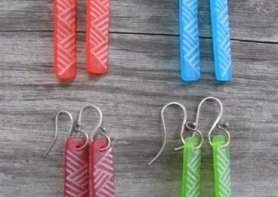 Maori weaving design engraved glass earrings on sterling silver hooks - orange, turquoise blue, red, lime green