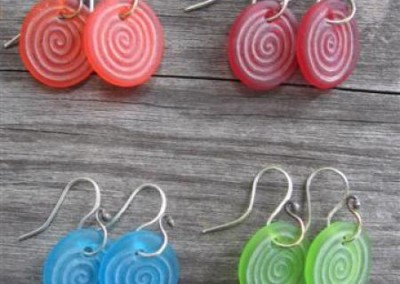 Koru or spiral design engraved glass earrings on sterling silver hooks - orange, red, turquoise blue, lime green