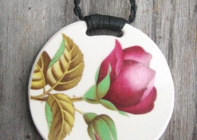 Round china pendant with binding feature on plaited cord, large size $64 China available changes all the time...some of these patterns may no longer be in stock but a similar design can be provided.