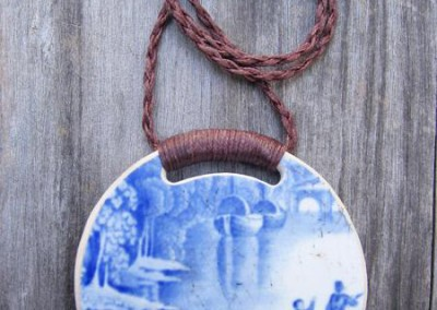 Round china pendant,with binding feature on plaited cord, large size. This china is historic - from the 1800s $64 China available changes all the time...some of these patterns may no longer be in stock but a similar design can be provided.