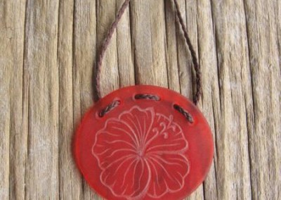 Hibiscus flower design engraved glass oval pendant $88 ORANGE Colours available - amber, orange, light red, dark red, pale green, lime green, mid-green, dark green, moss green, aqua green, turquoise blue, sapphire blue, teal blue, cobalt/dark blue, pale lavender, purple
