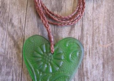 Antique pressed glass heart pendant on height adjustable cord $56 MID GREEN Colours available: amber, purple, red, mid green, turquoise blue, clear, pale blue