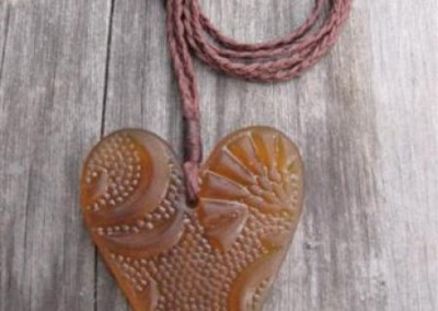 Antique pressed glass heart pendant $56 AMBER Colours available: amber, purple, red, mid green, turquoise blue, clear, pale blue