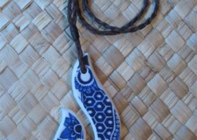Recycled china carved hei matau pendant - Willow pattern