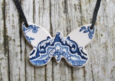 Recycled china carved butterfly pendant - Johnson Bros