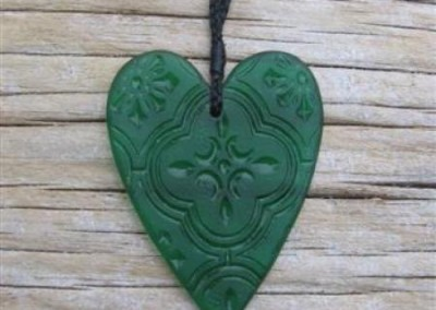 Antique pressed glass heart pendant with adjustable cord $56 AQUA GREEN Colours available: amber, purple, red, mid green, turquoise blue, clear, pale blue, aqua green