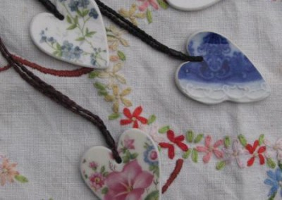 Recycled china heart pendants - assorted floral patterns