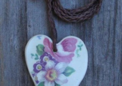 Recycled china heart pendant - Colourful floral, Old Foley