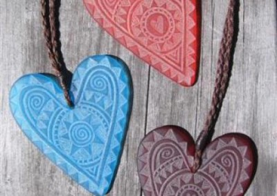 Engraved glass heart pendants with adjustable cord $88 TURQUOISE BLUE; ORANGE; DARK RED Colours available - amber, orange, light red, dark red, pale green, lime green, mid-green, dark green, moss green, aqua green, turquoise blue, sapphire blue, teal blue, cobalt/dark blue, pale lavender, purple
