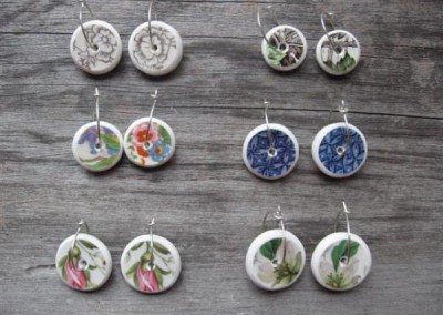 Recycled china disc earrings, assorted patterns