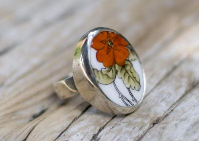 Recycled china set in sterling silver ring - orange floral, Aynsley