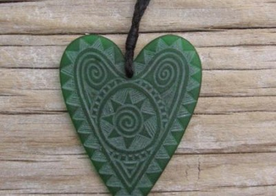 Engraved glass heart pendant on adjustable cord $88 DARK GREEN Colours available - amber, orange, light red, dark red, pale green, lime green, mid-green, dark green, moss green, aqua green, turquoise blue, sapphire blue, teal blue, cobalt/dark blue, pale lavender, purple