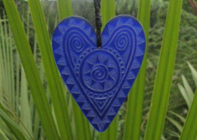 Engraved glass heart pendant on adjustable cord $88 COBALT Colours available - amber, orange, light red, dark red, pale green, lime green, mid-green, dark green, moss green, aqua green, turquoise blue, sapphire blue, teal blue, cobalt/dark blue, pale lavender, purple