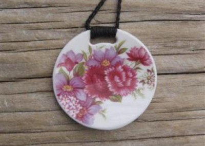 Recycled china round pendant - pink floral