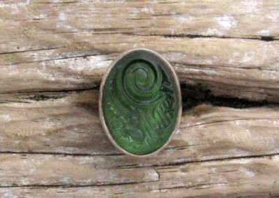 Vintage pressed glass set in sterling silver ring - Pale green koru