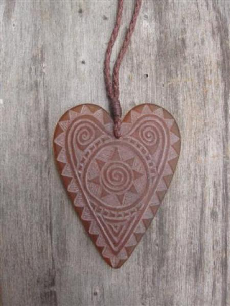 Engraved glass heart pendant on adjustable cord $88 AMBER Colours available - amber, orange, light red, dark red, pale green, lime green, mid-green, dark green, moss green, aqua green, turquoise blue, sapphire blue, teal blue, cobalt/dark blue, pale lavender, purple