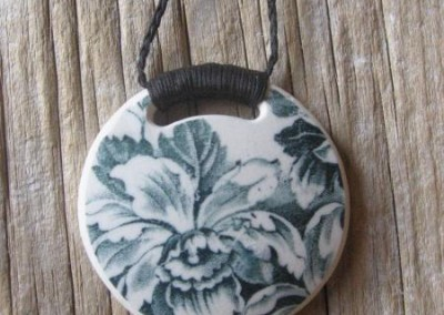 Recycled china round pendant - Historic china from the 1800s, grey-green