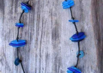 Handmade glass bead necklace, short - shades of blue