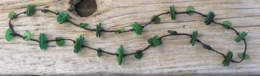 Glass Neacklace (long) - Hand Shaped Beads - Shades of Green