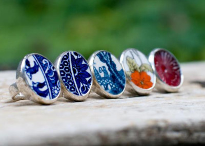 Sterling silver rings - set with recycled china and pressed glass