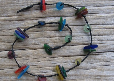 Handmade glass bead necklace, short - shades of rainbow