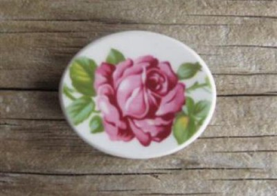 Recycled china oval brooch - rose