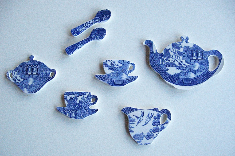 Willow Pattern Tea set' Wall hanging. Crown Lynn Blue Willow Plate from the 1980s. Portage Ceramic Awards Exhibition 2010