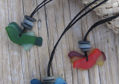 Three bird adjustable pendants, shades of green, blue, orange