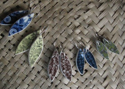 Recycled china leaf earrings, assorted patterns