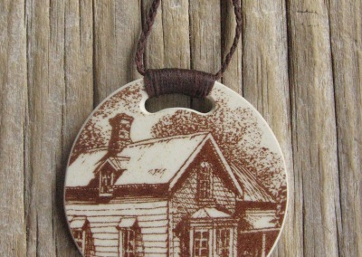 Recycled china round pendant -Crown Lynn Heritage