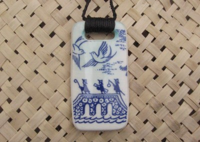 Recycled china retro Crown Lynn Willow pattern pendant