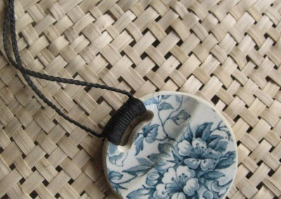 Recycled china green-grey historic pendant