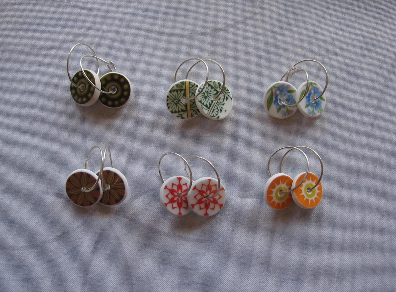 recycled china earrings disc shape green jewellery