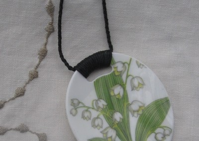 Recycled china pendant - oval, Lily of the Valley