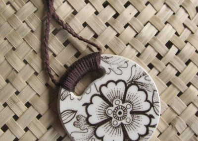 Recycled china pendant - round, brown floral retro, Crown Lynn