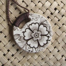 Recycled china pendant - round, brown floral retro - Copy