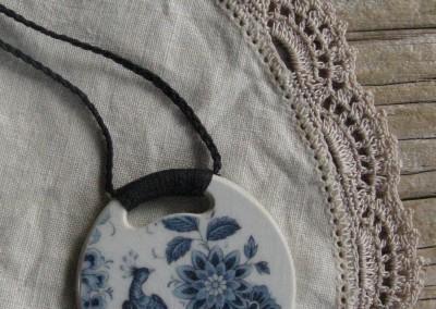 Recycled china pendant, round, pheasant, Australian china