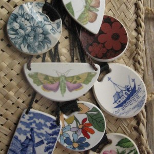 Recycled china pendants, assorted patterns