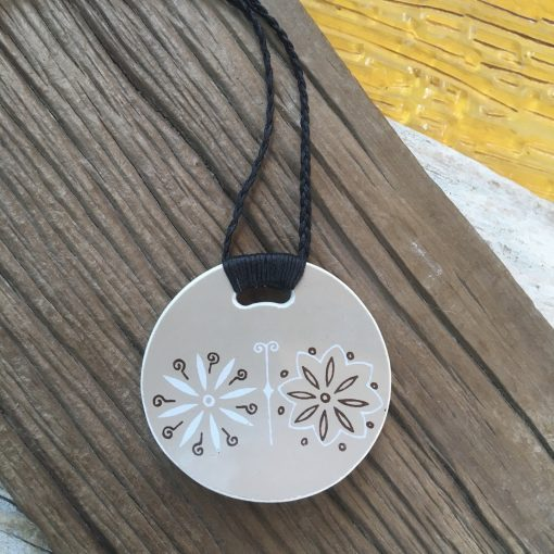 Crown Lynn recycled ceramic circle pendant Retro Flora $58