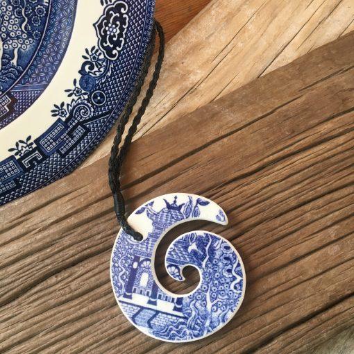 Crown Lynn recycled ceramic koru carved pendant Blue Willow $88