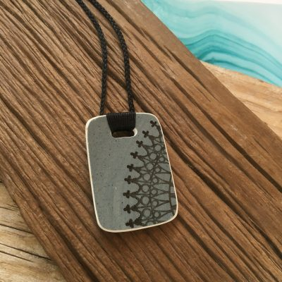 Crown Lynn recycled ceramic rectangle pendant Ponui $58