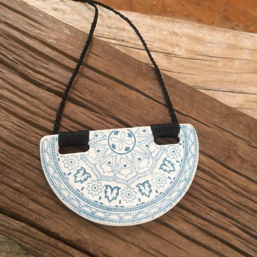 Crown Lynn recycled ceramic semicircle pendant Regal Blue $64